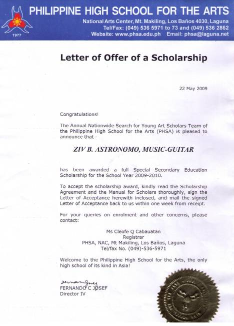 Artistically Gifted Ziv. B. Astronomo has been awarded a full Special Secondary Education Scholarship fot the School Year 2009-2010