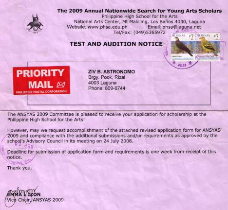 Invitation to participate in the second round of tests and auditions to the 2009 Annual Nationwide Search for Young Arts Scholars whoch will be held at the National High School for the Arts (PHSA) in Mt. Makiling, Los Banos, Laguna on 18-22 of May 2009