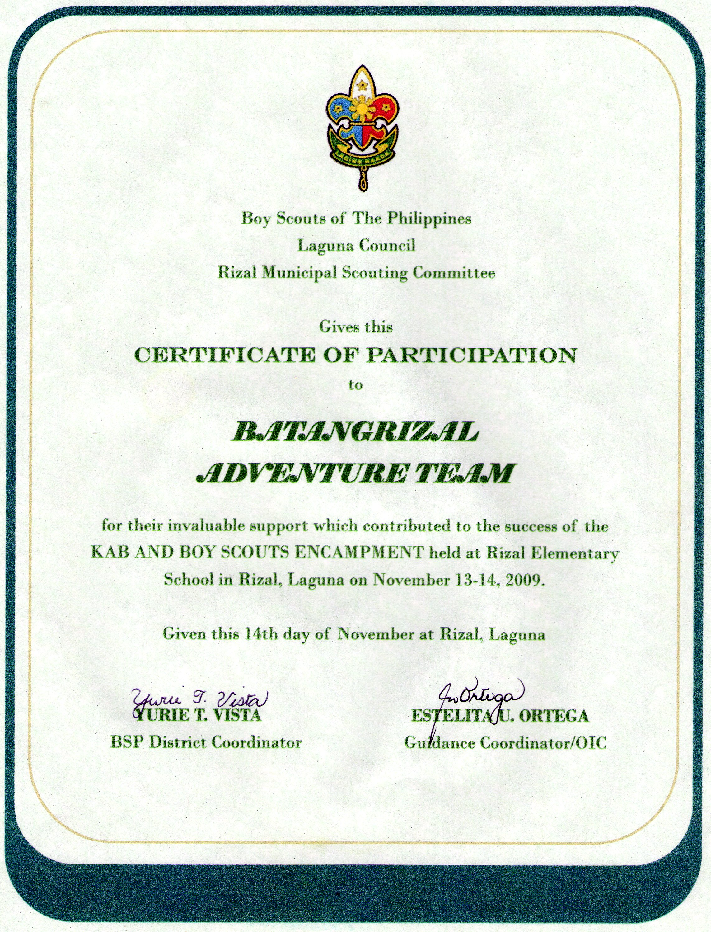 Cub scout certificate of appreciation template for Eagle scout certificate template